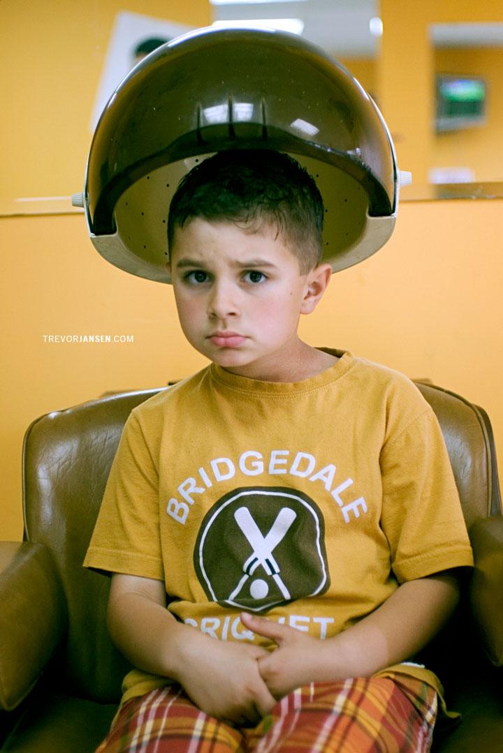 Portrait of kid in hair salon