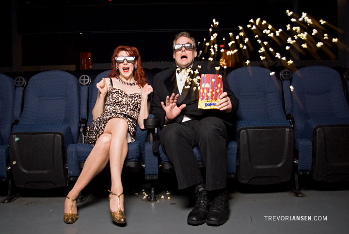 Portrait of the Purrfessor and Burgundy Brixx at the Rio Theatre