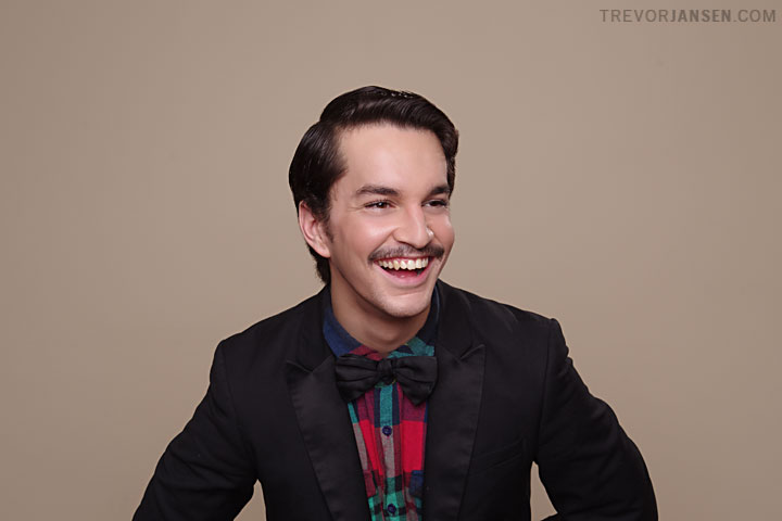 portrait of a young man with a moustache for Movember