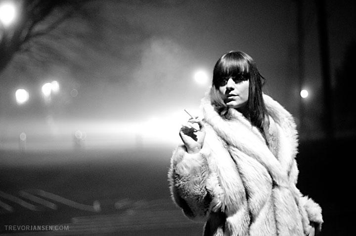 fashion photo of model in fur coat