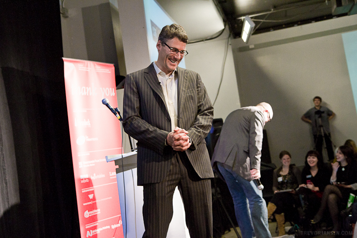 Mayor Gregor Robertson shares a laugh with Creative Mornings Vancouver