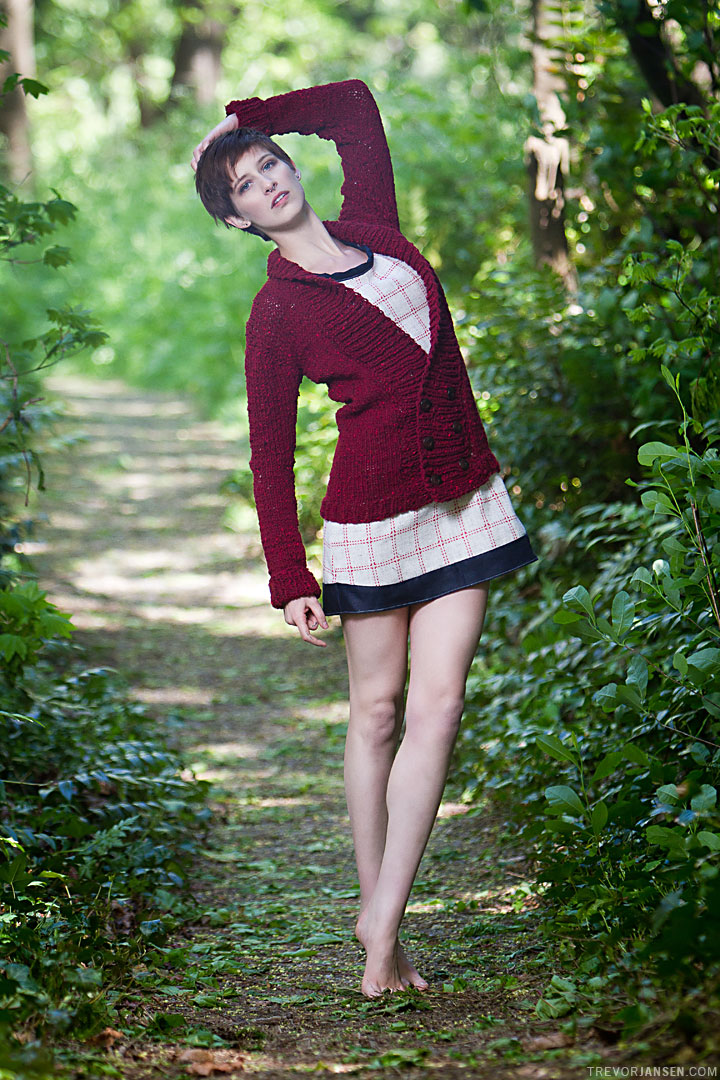 Fashion model poses in forest for Devil May Wear