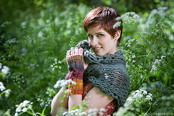 Devil May Wear Fall fashion model in knitted wear