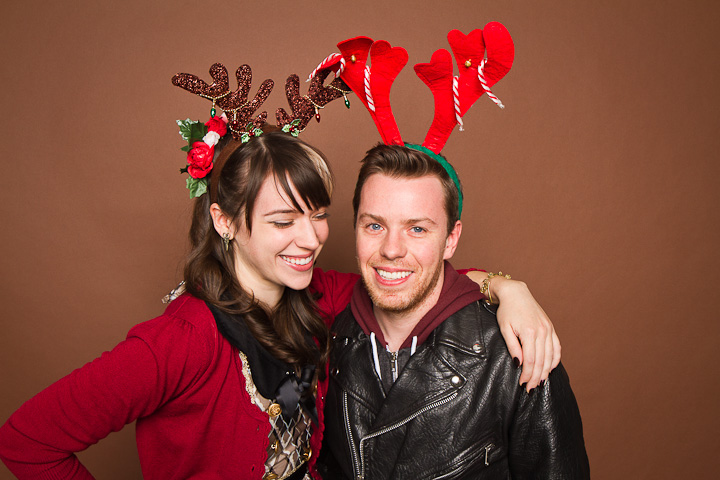 Christmas photobooth portrait of young couple