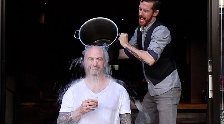 Johnathon Strebly participating in the ice bucket challenge