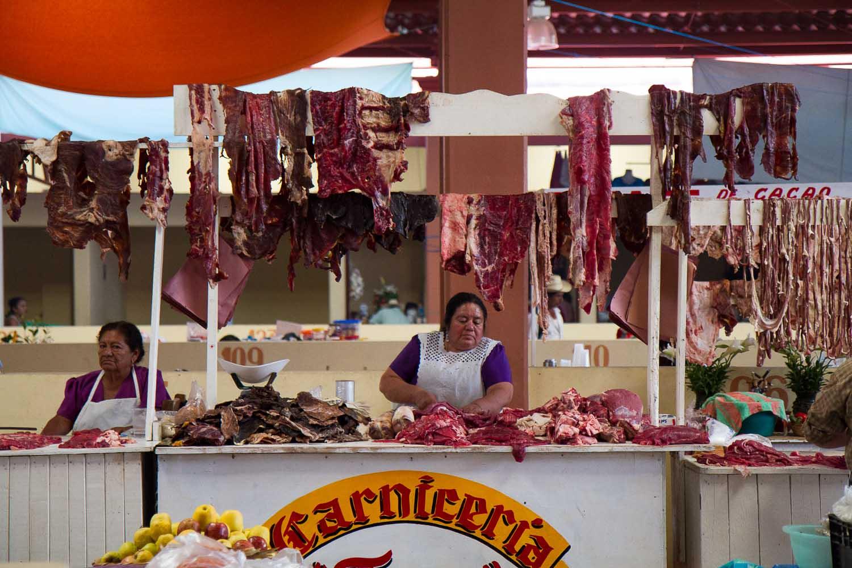 Oaxaca, Mexico, Tlacolula market butcher