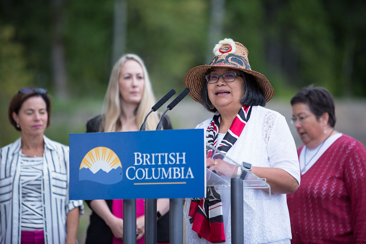 Elder Sharon Bryant welcomes us to the First Nations territory of the Tsimshian people