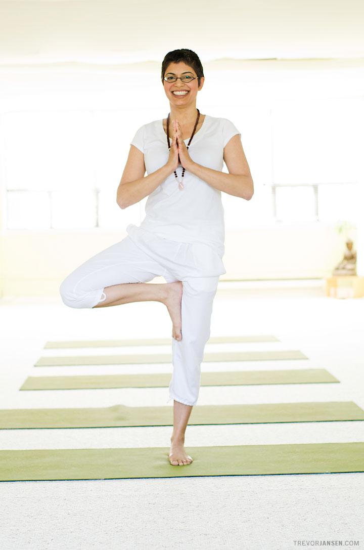 Environmental portrait of yoga instructor, Farah Nazarali, in East Vancouver
