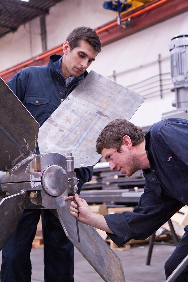 Commercial Photography for Dynamix Agitators Inc. | Engineers measurement a fixed pitch blade impeller