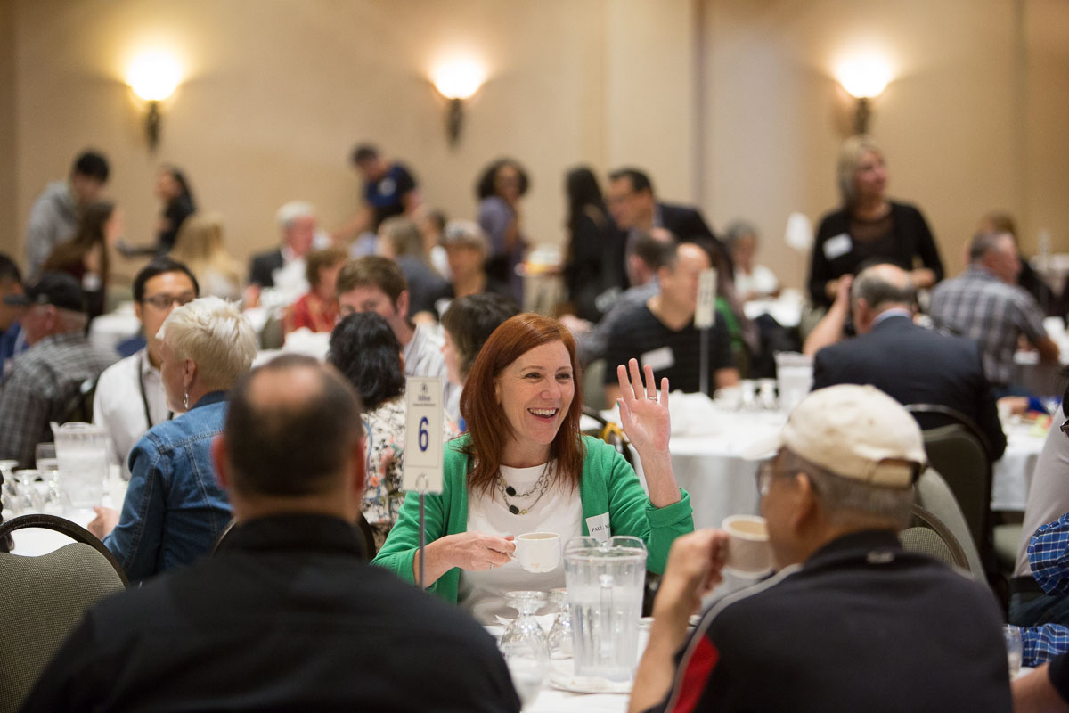 Participants chat at the BC Housing Semi Annual Meeting