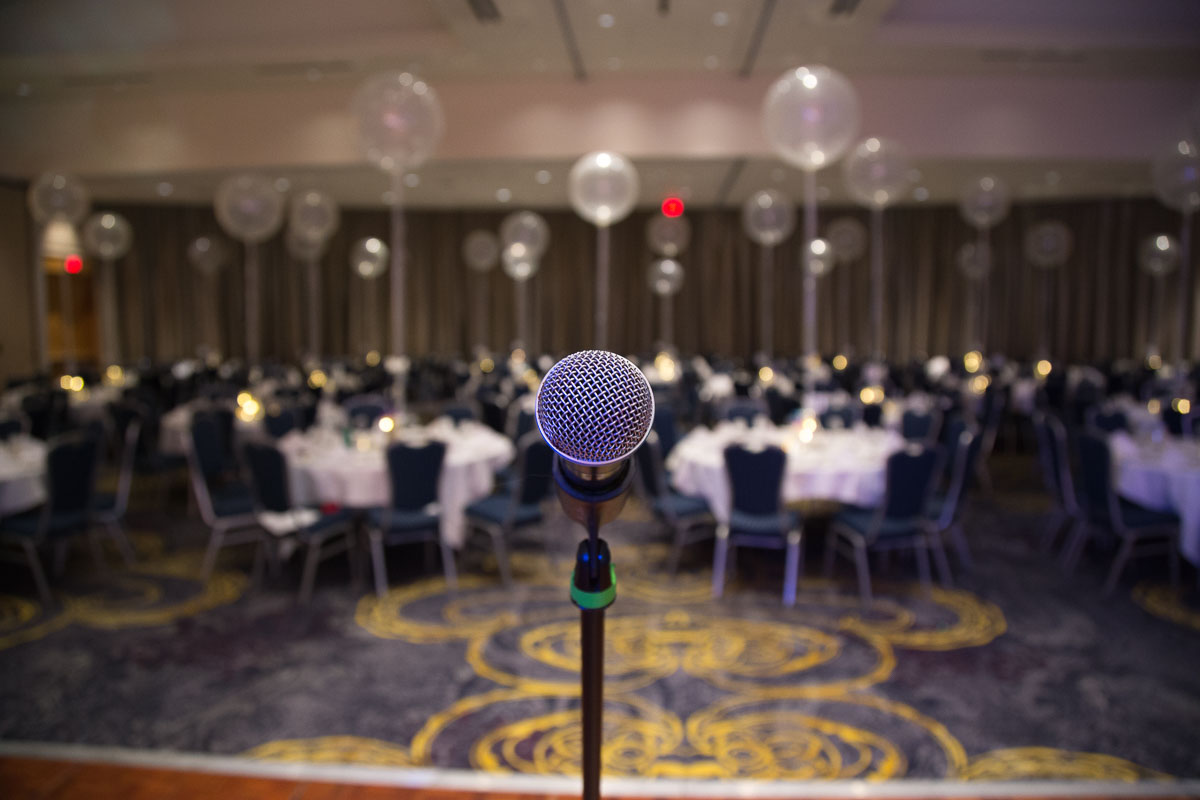 The mic awaits the crowd at the BC Housing 50th celebration
