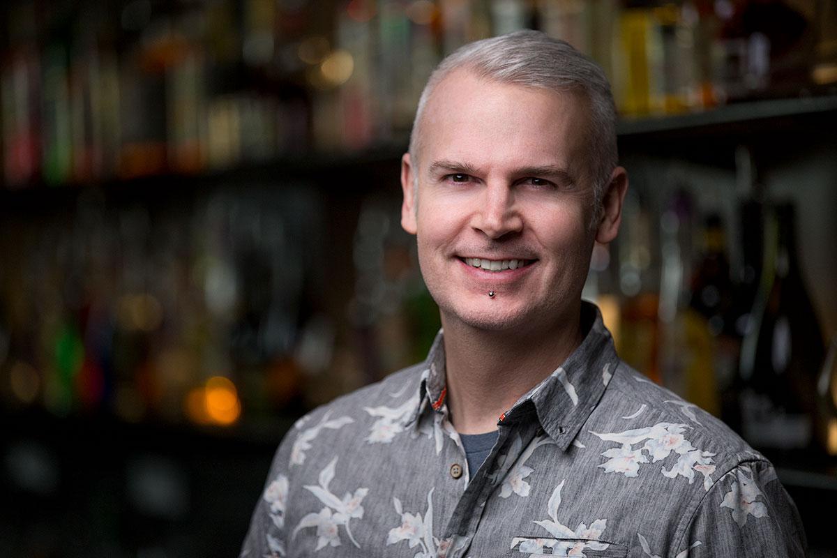 Bartending instructor, Chris Stoner on location at Fine Art Bartending