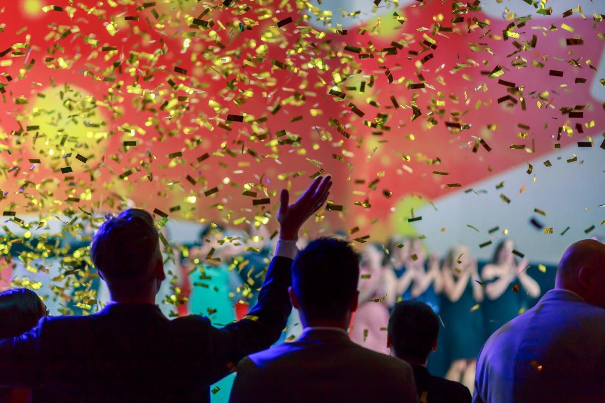 Confetti blast at gala event